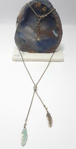 Lucky Brand Gold Patina Feather Lariat Necklace